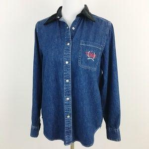 Vintage Tommy Hilfiger Velvet Collar Denim Shirt